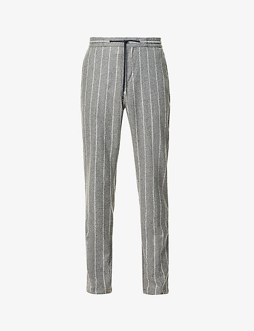 TOMMY HILFIGER: Flex drawstring-waistband wool-blend trousers
