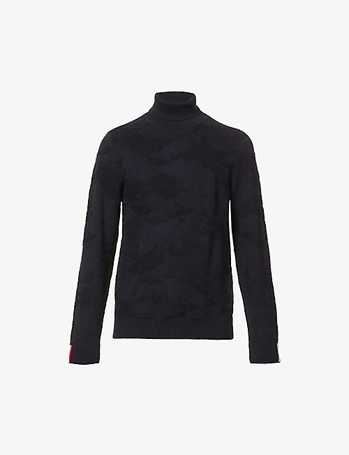 TOMMY HILFIGER: Camouflage-print turtleneck organic-cotton and wool-blend jumper