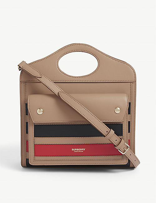 BURBERRY: Striped medium leather shoulder bag