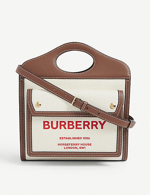 BURBERRY: Pocket mini logo-print canvas and leather top-handle bag