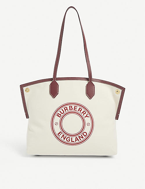 BURBERRY: Society medium canvas tote bag