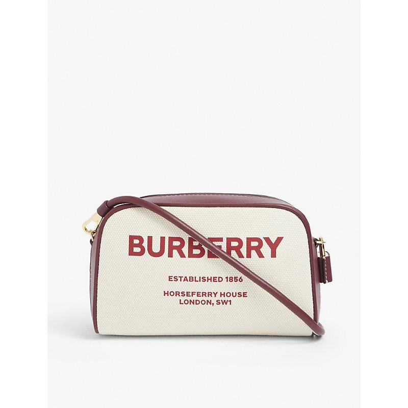 Burberry Cube Small Cotton-canvas Cross-body Bag In Garnet