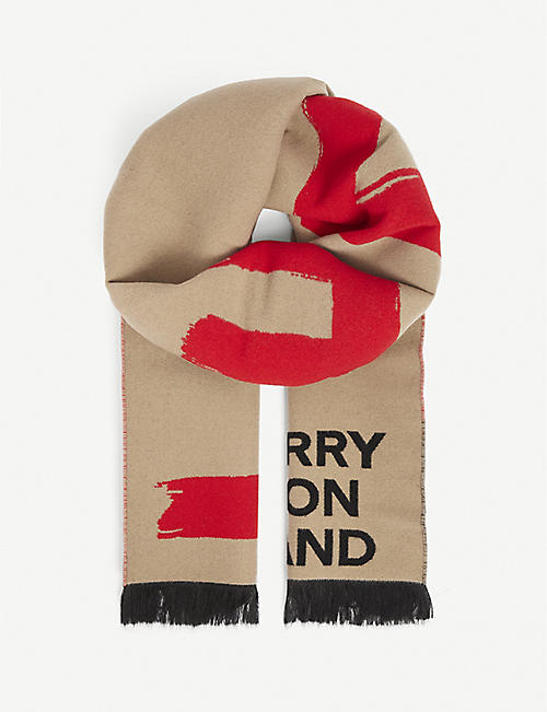 BURBERRY: Love Football wool-blend scarf