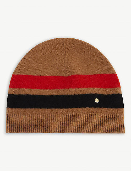 BURBERRY: Graphic-stripe cashmere and merino wool-blend beanie