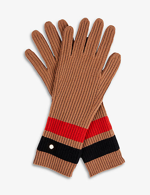 BURBERRY: graphic stripe wool and cashmere-blend gloves