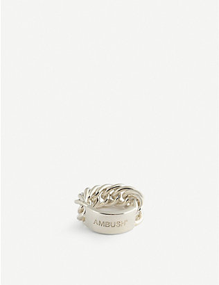 AMBUSH: Chain logo-engraved gold-tone sterling silver ring