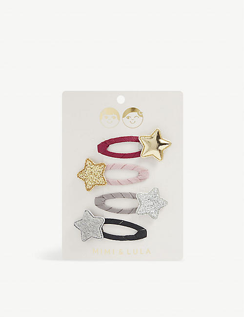 MIMI & LULA: Tokyo star-embellished hair clips set of four