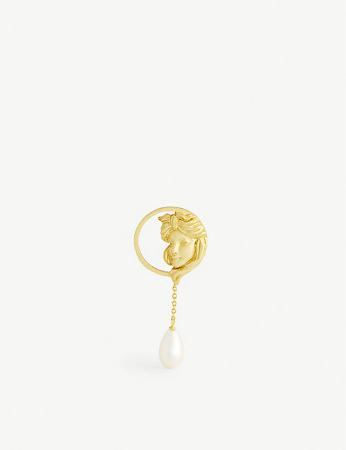ANISSA KERMICHE: Madame Tallien 18ct yellow gold-plated and pearl earring