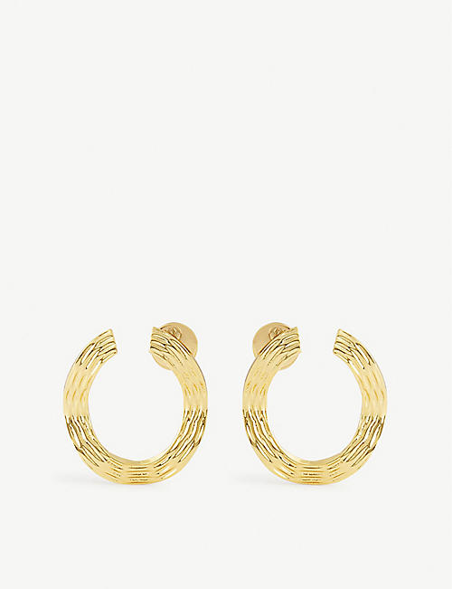 ANISSA KERMICHE: Écorce Dorée 18ct gold-plated earrings