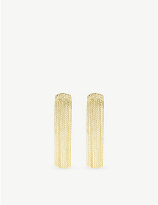 ANISSA KERMICHE: Grand Fil D'Or yellow gold-plated brass earrings