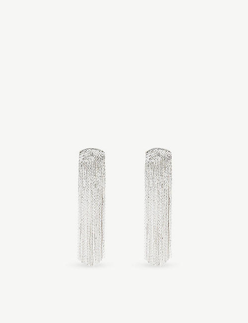 ANISSA KERMICHE: Grand Fil d'Argent sterling silver-plated brass earrings