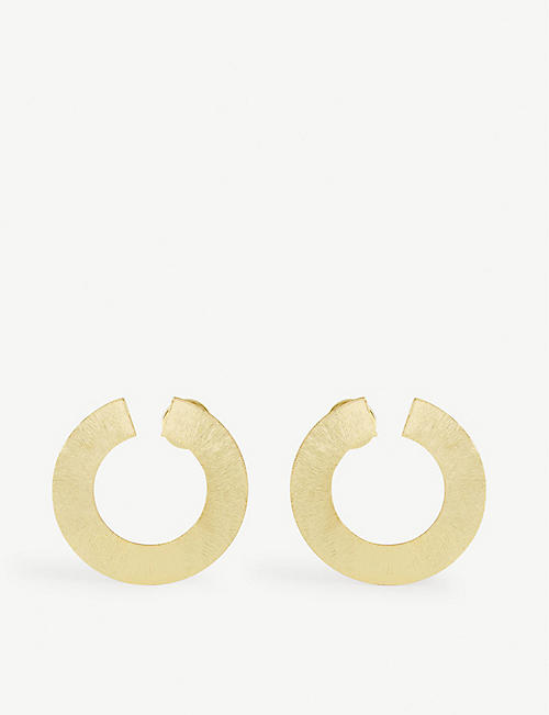 ANISSA KERMICHE: Les Jumelles yellow gold-plated brass earrings