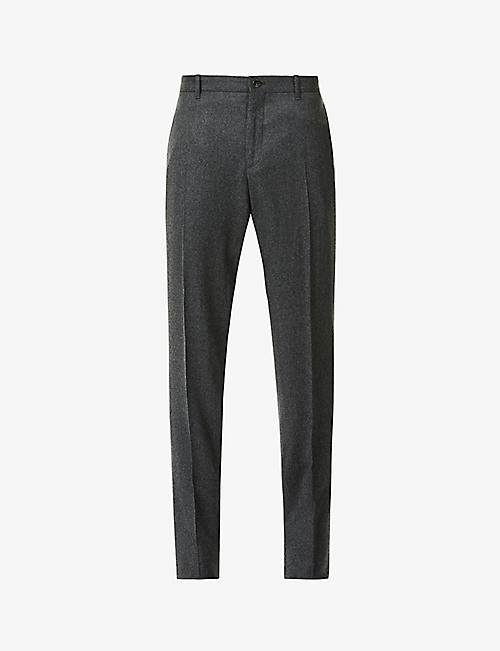 SLOWEAR: Slim-fit tapered wool trousers