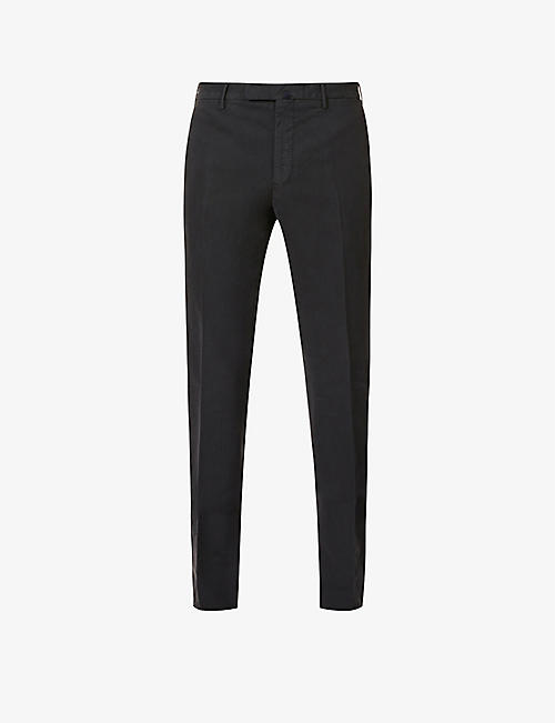 SLOWEAR: Slim-fit tapered stretch-cotton trousers