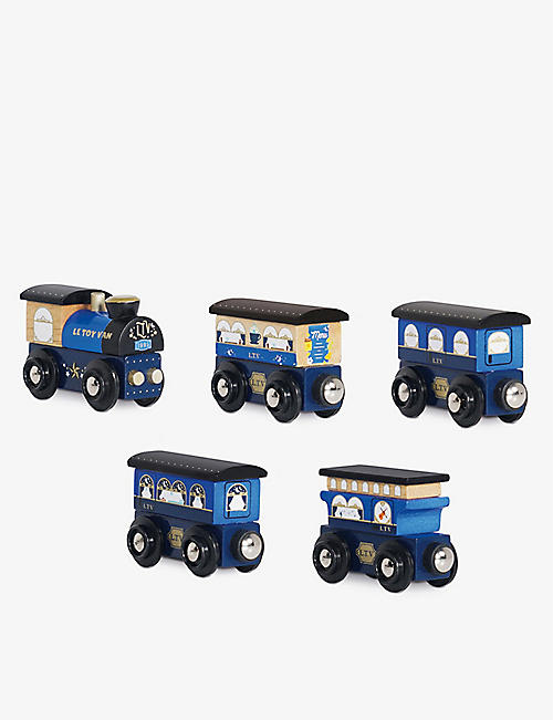 LE TOY VAN: Twilight Blue Train five-piece wooden train set
