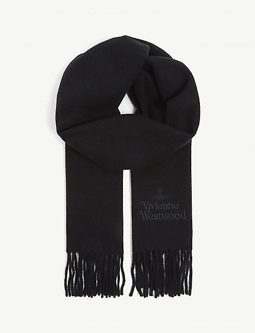 VIVIENNE WESTWOOD: Logo-embroidered wool scarf
