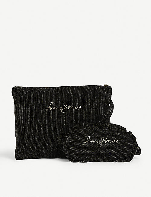 LOVE STORIES: Logo-embroidered eye mask and toiletry bag woven sleepover set