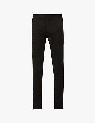 SLOWEAR: Drawstring-waistband relaxed-fit tapered stretch-cotton trousers