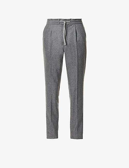 SLOWEAR: Drawstring-waistband slim-fit tapered wool trousers
