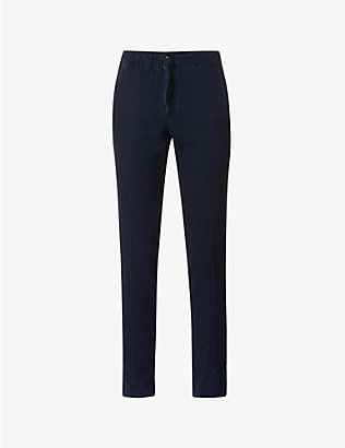 SLOWEAR: Drawstring-waistband slim-fit tapered cotton and wool-blend trousers