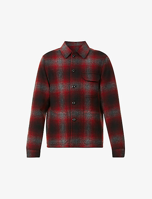SLOWEAR: Checked long-sleeved wool overshirt