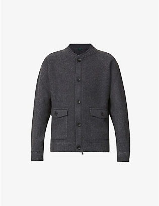 SLOWEAR: Stand-collar wool and cashmere-blend cardigan