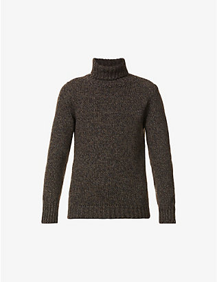 SLOWEAR: Contrast-weave turtleneck wool-blend jumper