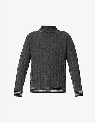 SLOWEAR: Cable-knit turtleneck wool jumper