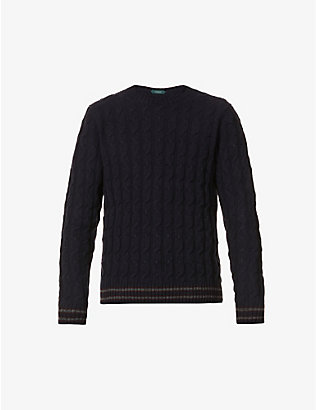SLOWEAR: Cable-knit crewneck wool jumper