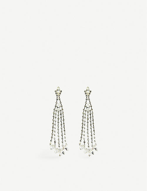 JENNIFER GIBSON JEWELLERY: Pre-loved crystal-embellished silver-tone drop earrings