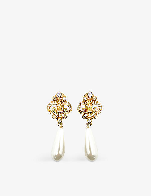 JENNIFER GIBSON JEWELLERY: Pre-loved crystal and gold-plated metal earrings