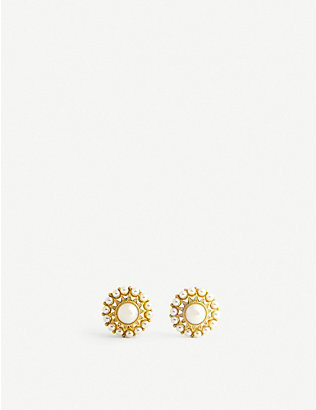 JENNIFER GIBSON JEWELLERY: Pre-loved faux-pearl, crystal and gold-plated clip-on earrings