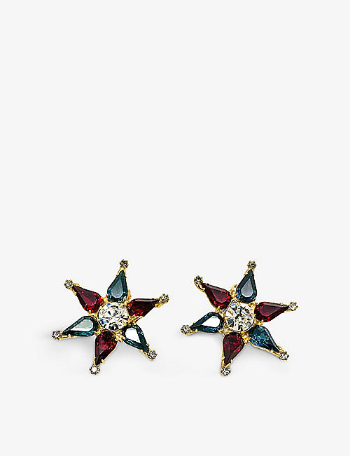 JENNIFER GIBSON JEWELLERY: Pre-loved Star gold-plated and glass earrings