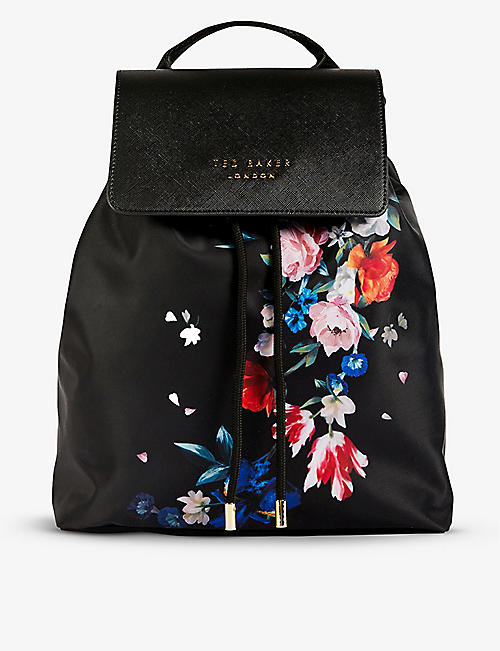 TED BAKER: Vall floral-print shell backpack