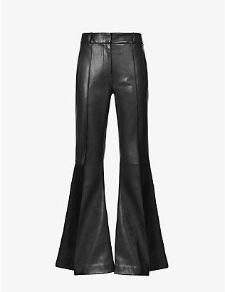 KHAITE: Charles flared mid-rise leather trousers