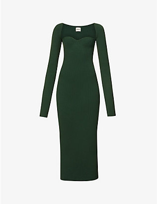 KHAITE: Beth sweetheart-neck knitted midi dress