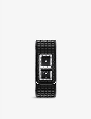 CHANEL: H6208 leather, steel and 0.58ct diamond watch