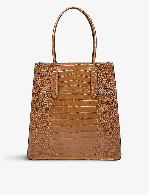 SMYTHSON: Mara crocodile-embossed leather snap tote bag