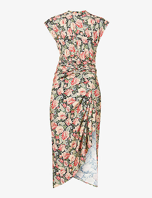 PACO RABANNE: Floral-print stretch-woven maxi dress