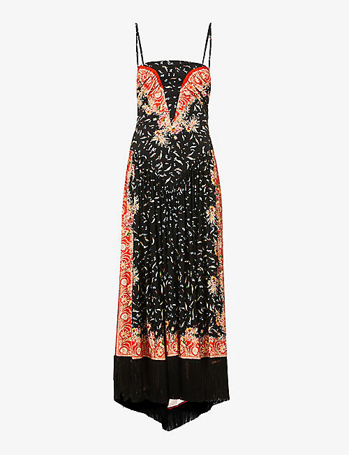 PACO RABANNE: Floral-print fringe-hem stretch-woven maxi dress