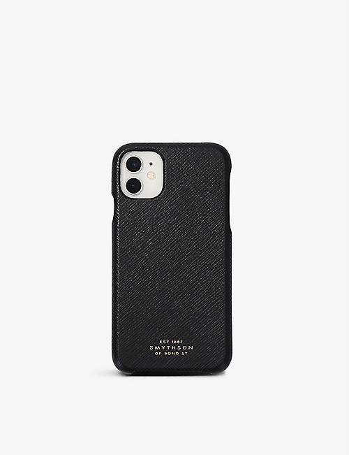 SMYTHSON: Panama cross-grain leather iPhone 11 hard case