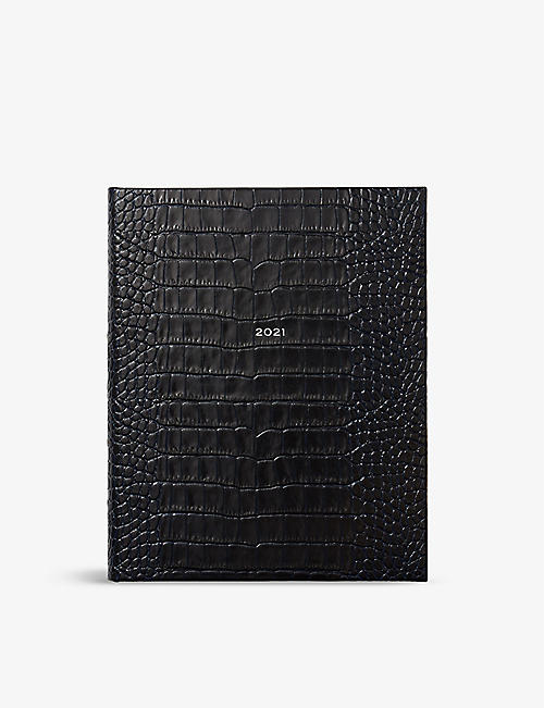 SMYTHSON: Mara Kings 2021 croc-embossed leather diary 26cm