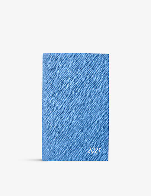 SMYTHSON: Panama 2021 cross-grain leather diary with pocket 9cm x 14cm