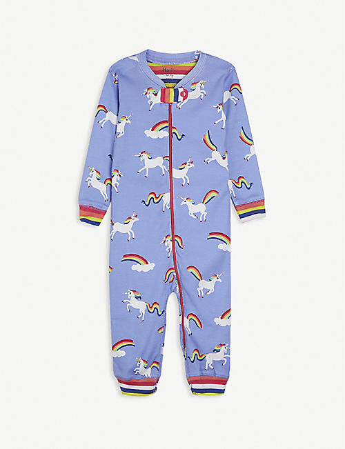 HATLEY: Unicorn-print cotton baby grow 3-24 month