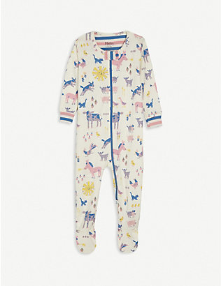 HATLEY: Farm animals-print cotton baby grow 3-24 month