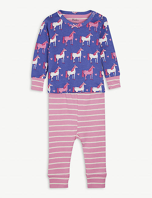 HATLEY: Horses and hearts-print cotton pyjama set 3-24 month