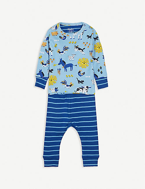 HATLEY: Farm animals-print cotton pyjama set 3-24 month