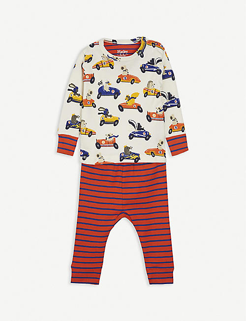 HATLEY: Racing car-print cotton pyjama set 3-24 month