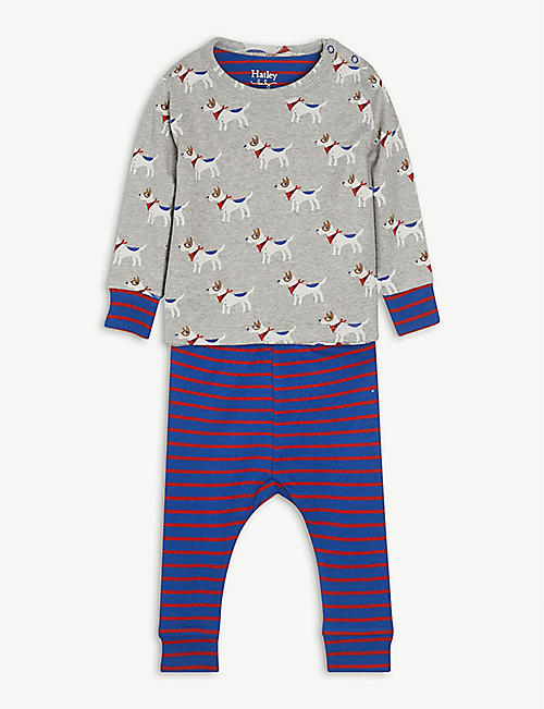 HATLEY: Puppy-print cotton pyjama set 3-24 month