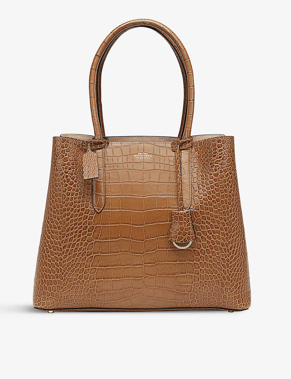 SMYTHSON: Mara Ciappa crocodile-embossed leather business bag